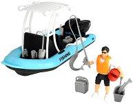 """Лодка за риболов N20 - Комплект за игра с фигурка и аксесоари от серията """"Playlife"""" -"""