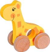 Жирафче - Дървена бебешка играчка на колелца -