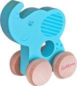 Слонче - Дървена бебешка играчка на колелца -