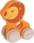 Лъвче - Дървена бебешка играчка на колелца -