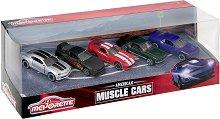 Американски автомобили - Комплект от 5 метални колички с отварящи се врати -