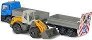"""Камион с ремарке MAN TGS и багер Liebher Loader L538 - Метални играчки от серията """"Construction"""" -"""