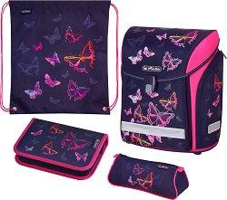 Ученическа раница - Midi: Rainbow Butterfly - Комплект с 2 несесера и спортна торба - раница