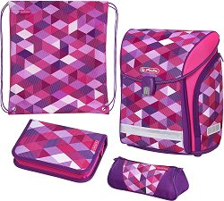 Ученическа раница - Midi: Pink Cubes - Комплект с 2 несесера и спортна торба - раница