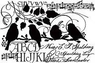 Шаблон - Птици и надписи - Размер 14.8 x 21cm