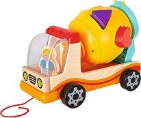 Сортер - Бетоновоз - Дървена играчка за дърпане с фигурки за сортиране - играчка
