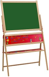 Магнитна дъска за писане със стойка - Комплект с латински букви, тебешири и гъба за почистване - играчка