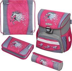 Ученическа раница - Loop: Power Horse - Комплект с 2 несесера и спортна торба - несесер