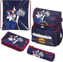 Ученическа раница - Loop: Comic Hero - Комплект с 2 несесера и спортна торба - продукт