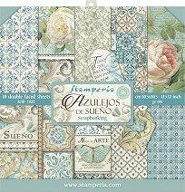 Хартии за скрапбукинг - Орнаменти с цветя и пеперуди - Комплект от 10 броя с размер 30.5 х 30.5 cm