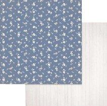 Хартии за скрапбукинг - Малки бели цветенца - Размери 30.5 х 30.5 cm