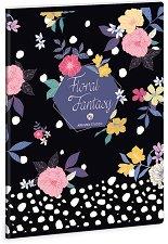 Ученическа тетрадка - Floral Prism : Формат А5 с широки редове - 40 листа -