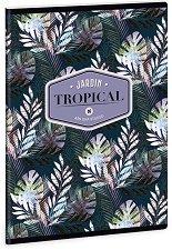 Ученическа тетрадка - Tropical Palm Leaf : Формат А5 с широки редове - 40 листа -