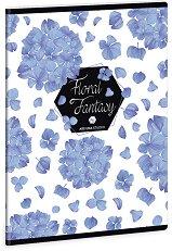 Ученическа тетрадка - Floral Hortensia : Формат А5 с широки редове - 40 листа -
