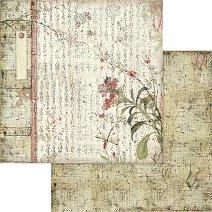 Хартии за скрапбукинг - Японски йероглифи - Размери 30.5 х 30.5 cm