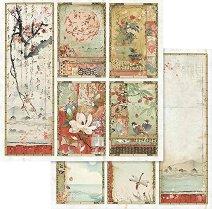 Хартии за скрапбукинг - Японски цветя - Размери 30.5 х 30.5 cm