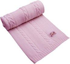 Бебешко плетено одеяло - 100% мериносова вълна с размери 85 x 100 cm - продукт