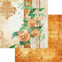 Хартии за скрапбукинг - Златни рози с орнаменти - Размери 30.5 х 30.5 cm