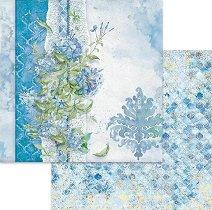 Хартии за скрапбукинг - Сини цветя - Размери 30.5 х 30.5 cm