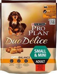 Purina Pro Plan Duo Delice Optibalance Beef Small & Mini Adult - Суха храна с говеждо месо за кучета от малки и дребни породи на възраст над 1 година - чували от 700 g и 2.5 kg -