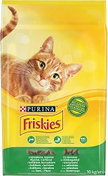 Friskies Cat with Rabbit, Chicken and Vegetables - Суха храна със заешко, пилешко месо и зеленчуци за котки в зряла възраст - чувал от 10 kg -