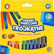 Триъгълни восъчни пастели - Комплект от 12 цвята