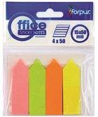 Самозалепващи неонови индекси - Комплект от 4 цвята по 50 листчета с размери 1.5 x 5 cm