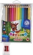 Цветни моливи - Astrino - Комплект от 12 цвята с острилка и разноцветен молив
