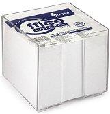 Бяло хартиено кубче с пластмасова поставка - Кубче от 800 листчета с размери 9 x 9 cm