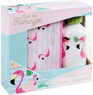 Комлкект от кутия за хранене и бутилка - Фламинго -
