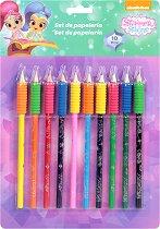Цветни моливи - Искрица и Сияйница - Комплект от 10 броя