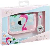 Комплект портмоне и часовник - Фламинго -