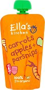 Ella's Kitchen - Био плодово-зеленчуково пюре от моркови, ябълки и пащърнак - Опаковка от 120 g за бебета над 4 месеца - пюре