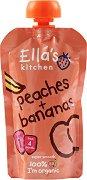 Ella's Kitchen - Био пюре от праскови и банани - Опаковка от 120 g за бебета над 4 месеца - пюре