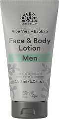 Urtekram Men Aloe Vera Baobab Face & Body Lotion - Био лосион за мъже за лице и тяло с алое вера и баобаб -