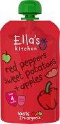 Ella's Kitchen - Био плодово-зеленчуково пюре от червени чушки, сладки картофи и ябълки - Опаковка от 120 g за бебета над 4 месеца - пюре