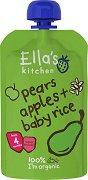 Ella's Kitchen - Био оризова закуска с круши и ябълки - Опаковка от 120 g за бебета над 4 месеца -