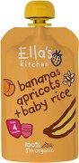 Ella's Kitchen - Био оризова закуска с банани и кайсии - Опаковка от 120 g за бебета над 4 месеца - пюре