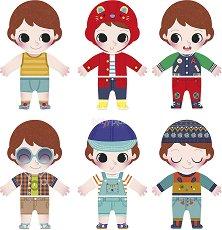 Облечи Саша - Комплект дървени фигури за сглобяване - играчка