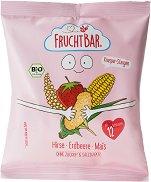 FruchtBar - Био снакс от просо, царевица и ягода - Опаковка от 30 g за бебета над 12 месеца -