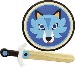 Комплект меч и щит - Вълк - играчка
