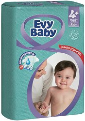Evy Baby 4 + - Maxy Plus - Пелени за еднократна употреба за бебета с тегло от 9 до 20 kg -