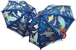 Детски чадър с променящ се цвят - Морско дъно - детски аксесоар