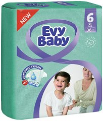 Evy Baby 6 - Extra Large - Пелени за еднократна употреба за бебета с тегло над 16 kg -