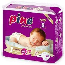 Pine Premium 1 - New Born - Пелени за еднократна употреба за бебета с тегло от 2 до 5 kg -