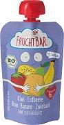 Fruchtbar - Био пюре с ягоди, банани, круши, киви и сухар - Опаковка от 100 g за бебета над 6 месеца -