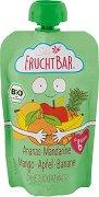 Fruchtbar - Био пюре с ябълки, ананас, банани, манго и мандарини - Опаковка от 100 g за бебета над 6 месеца -
