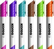 Маркери за бяла дъска с объл връх - Комплект от 6 цвята