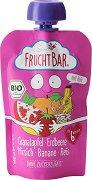 Fruchtbar - Био пюре с праскови, ягоди, банани, нар и ориз - Опаковка от 100 g за бебета над 6 месеца -