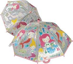 Детски чадър с променящ се цвят - Русалки -